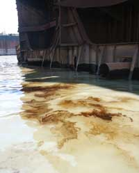 oil spills from dismantled ships.